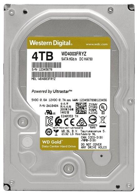 """null Жесткий диск 4ТБ Western Digital """"Gold WD4003FRYZ"""", 7200об./мин., 256МБ . null."""