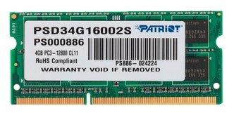 "Модуль оперативной памяти SO-DIMM 4ГБ DDR3 SDRAM Patriot ""PSD34G16002S"""