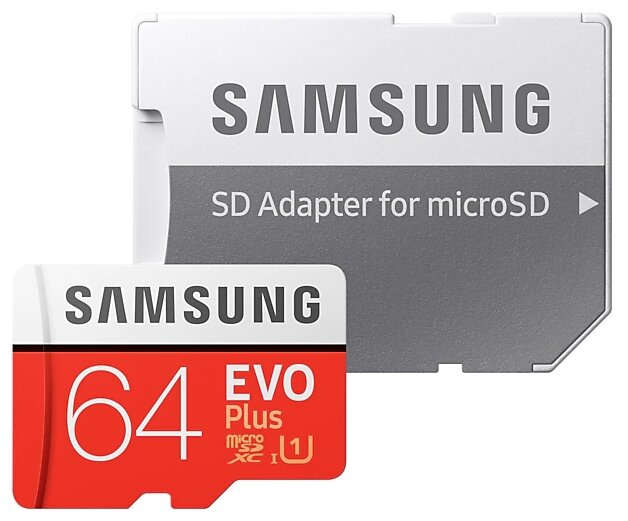 "Карта памяти 64ГБ Samsung ""EVO Plus MB-MC64HA/RU"" microSD XC UHS-I Class10 + адаптер"