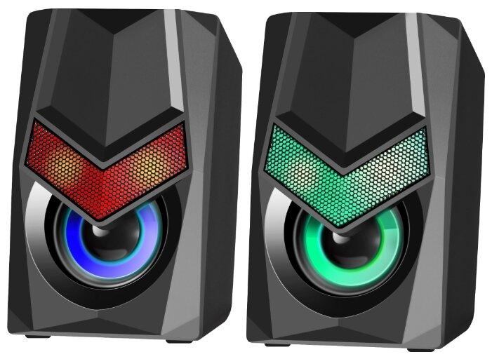 """Акустическая система стерео Defender """"Solar 1"""" 65401, 2x3Вт, подсветка, питание от USB, черный"""