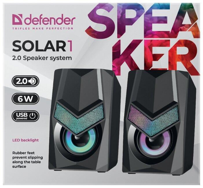 """Акустическая система Акустическая система стерео Defender """"Solar 1"""" 65401, 2x3Вт, подсветка, питание от USB, черный . null."""