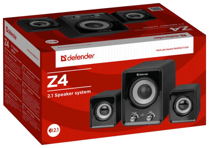 """Акустическая система Акустическая система 2.1 Defender """"Z4"""" 65508, сабвуфер 5Вт, сателлиты 2x3Вт, питание от USB, черный . null."""