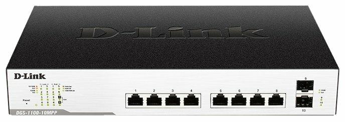 """Коммутатор D-Link """"DGS-1100-10MPP/C1A"""" 8 портов 1Гбит/сек. PoE + 2 порта SFP, управляемый"""