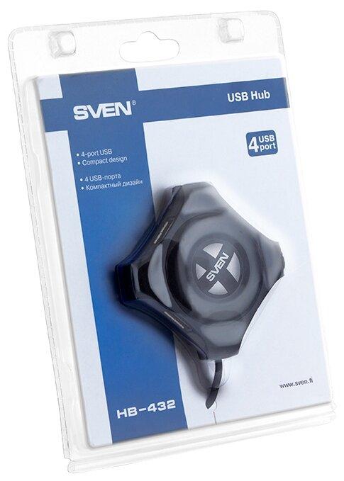 """Разветвитель Разветвитель 4 порта USB2.0 Sven """"HB-432"""", внешн., черный . null."""