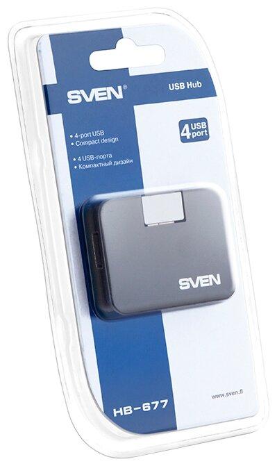 """Разветвитель Разветвитель 4 порта USB2.0 Sven """"HB-677"""", внешн., черный . null."""