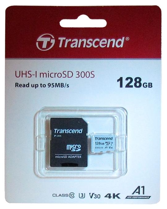 """Карта памяти 128ГБ Transcend """"TS128GUSD300S-A"""" microSDXC UHS-I Class10"""