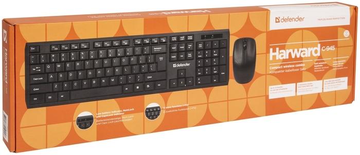 """Комплект клавиатура + мышь Комплект клавиатура + мышь Defender """"C-945 Harvard"""" 45945, беспров., черный . null."""