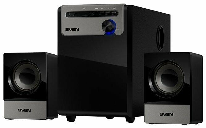 """Акустическая система 2.1 Sven """"MS-110"""", сабвуфер 5Вт, сателлиты 2x2.5Вт, с MP3 плеером, черный"""