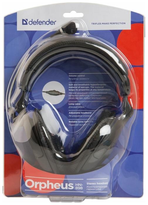 """Гарнитура Defender """"Orpheus HN-898"""" 63898, с регулятором громкости, черный"""