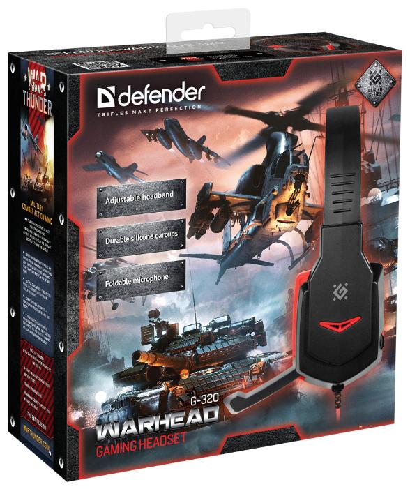 """Гарнитура Гарнитура Defender """"G-320 Warhead"""" 64033, с регулятором громкости, черно-красный . null."""