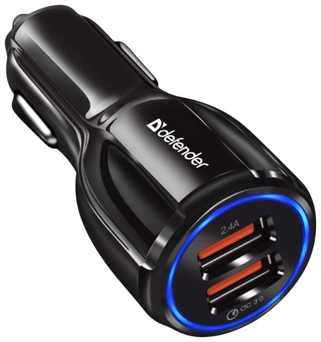 """Зарядное устройство автомобильное Defender """"UCA-100"""" 83833, 1xUSB 2.4A, 1xUSB QC3.0,"""