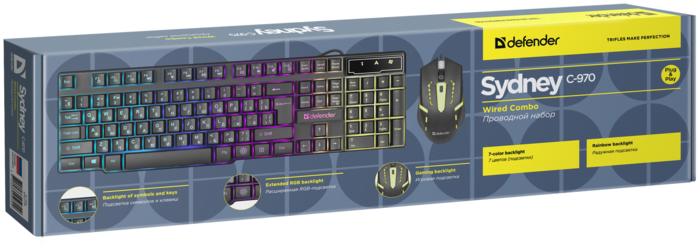"""Комплект клавиатура + мышь Комплект клавиатура + мышь Defender """"C-970 Sydney"""" 45970, подсветка, черный . null."""