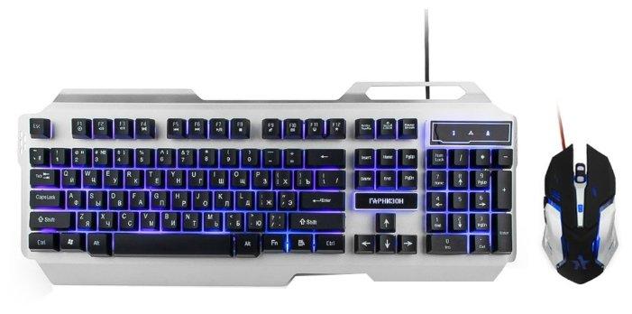 "Комплект клавиатура + мышь Комплект клавиатура + мышь Гарнизон ""GKS-510G"", подсветка, черно-серый . null."