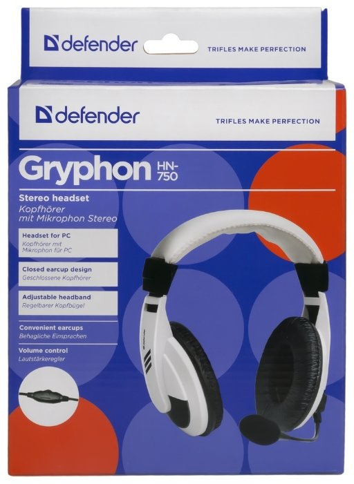 """Гарнитура Гарнитура Defender """"Gryphon-750"""" 63750, с регулятором громкости, черный . null."""
