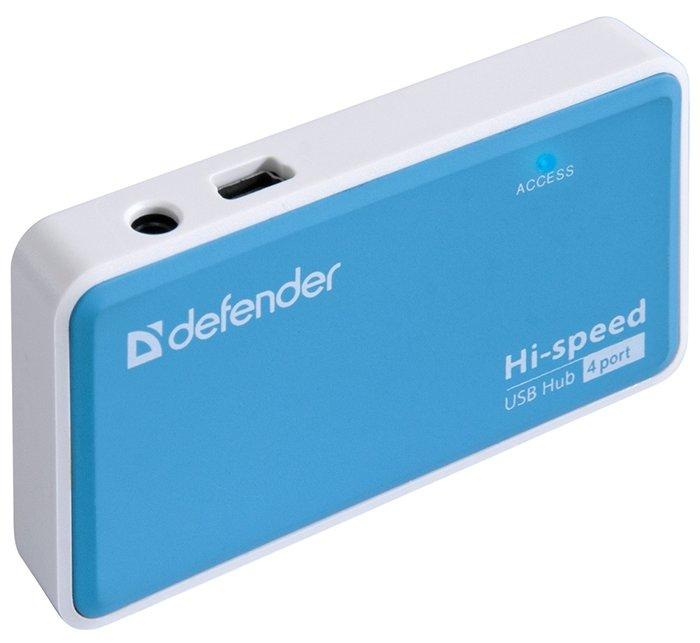 """Разветвитель Разветвитель 4 порта USB2.0 Defender """"Quadro Power"""" 83503, внешн., с блоком питания . null."""