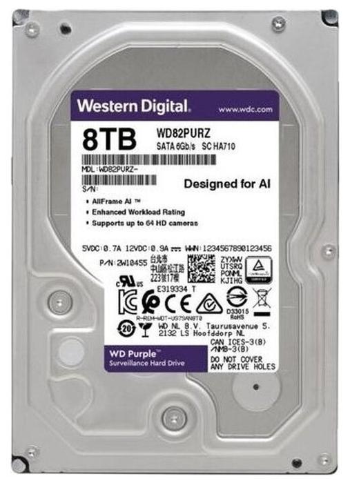 "Жесткий диск 8ТБ Western Digital ""Purple WD82PURZ"", 7200об./мин., 256MБ"