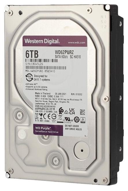 "Жесткий диск 6ТБ Western Digital ""Purple WD62PURZ"", 5640об./мин., 128МБ"