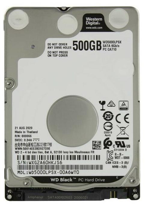 "Жесткий диск 500ГБ 2.5"" Western Digital ""Black WD5000LPSX"", 7200об/мин., 64МБ"
