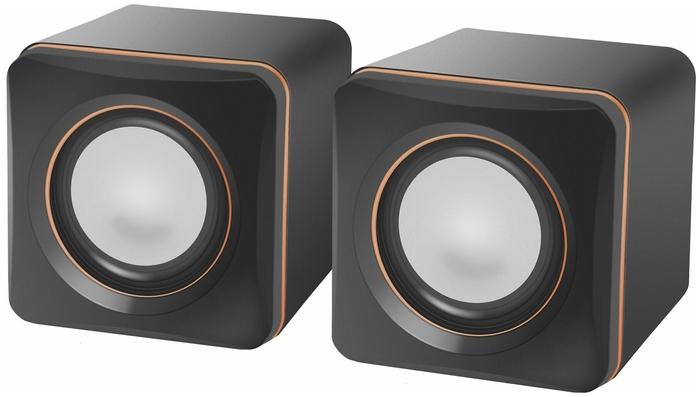 """Акустическая система стерео Defender """"SPK-33"""" 65633, 2x2.5Вт, питание от USB, черно-оранжевый"""