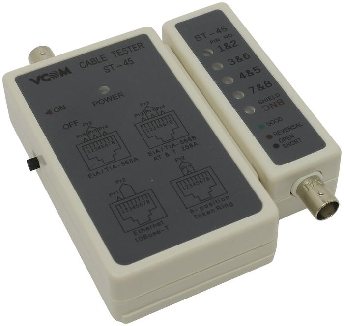 """Средство тестирования сетей VCOM """"ST-45"""" для кабелей RJ-45/BNC"""