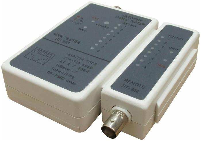 """Средство тестирования сетей Telecom """"ST-248"""" для кабелей RJ-11/RJ-12/RJ-45/BNC"""