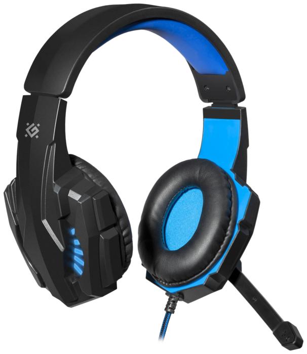 """Гарнитура Defender """"G-390 LED Warhead"""" 64039, с регулятором громкости, черно-синий"""