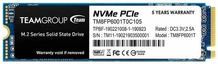 "SSD диск 1ТБ M.2 Team Group ""MP33"" TM8FP6001T0C101"