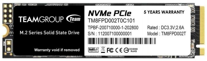 "SSD диск 2ТБ M.2 Team Group ""MP33 PRO"" TM8FPD002T0C101"