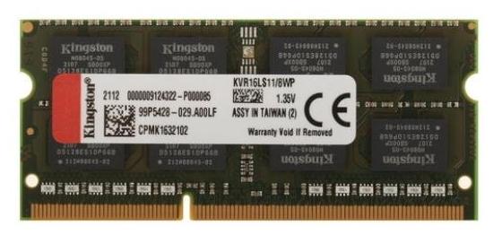 """Модуль оперативной памяти SO-DIMM 8ГБ DDR3L SDRAM Kingston """"ValueRAM"""" KVR16LS11/8WP"""